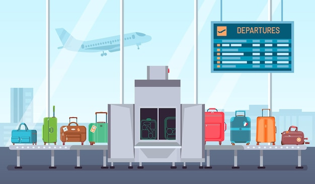 Airport baggage scanner. conveyor belt with luggage and inspection control terminal. security check for bags and suitcases vector concept. illustration luggage airport security, check and scanner