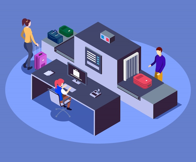 Airport baggage scanner isometric color  illustration. modern airline company safety measure concept isolated on blue background. security worker checking passengers luggage