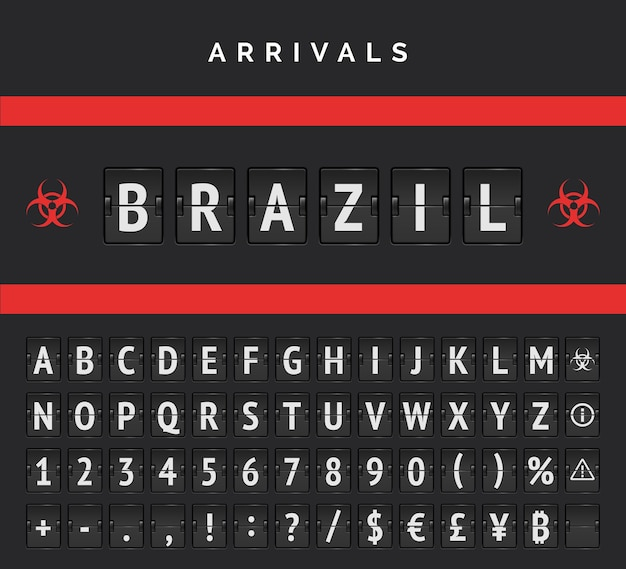Airport board arrivals analog vector font. flights from brazil closed due to pandemic. red biohazard sign