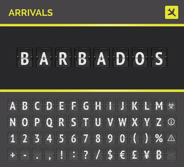 Airport board flip departure destination analog font