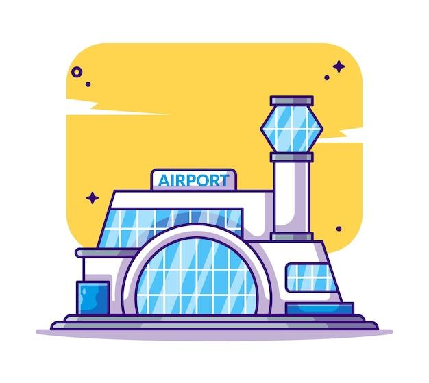 Здание аэропорта и достопримечательность иллюстрации шаржа
