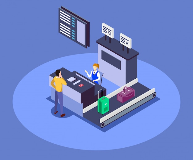 Airport check in counter isometric color  illustration.