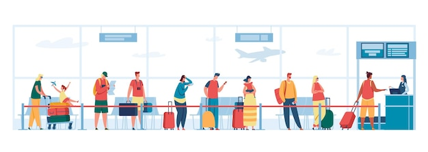 Airport check in desk queue illustration