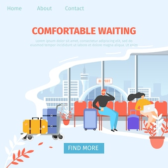 Airport comfortable waiting area vector web banner