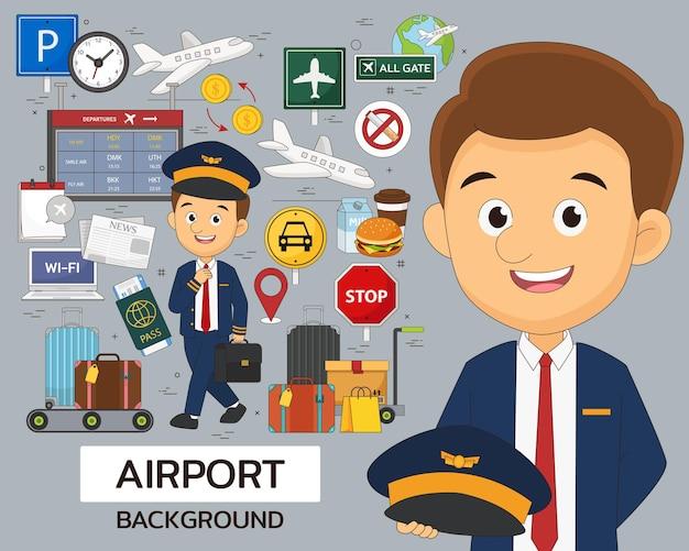 Плоские значки концепции аэропорта