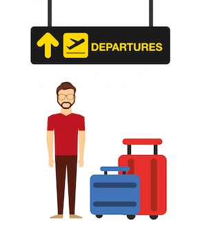 Airport concept illustration, man in airport departures terminal