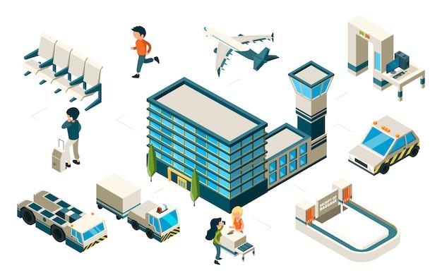 空港のコンセプト。等尺性飛行機空港ビル乗用車。輸送要素。イラスト平面と等尺性の空港、乗客とターミナル