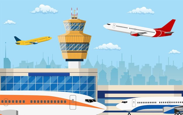 Airport control tower and flying civil airplane after take off in blue sky with clouds and city skyline silhouette