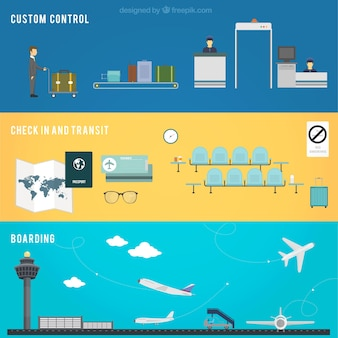 Airport controls banners Free Vector