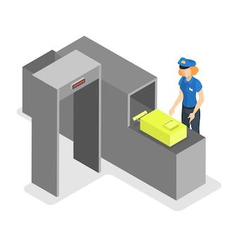空港コンベヤーベルト。手荷物セキュリティスキャンコントロール