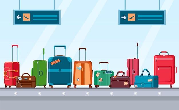 수하물이 있는 공항 컨베이어 벨트. 여행용 가방과 스티커가 달린 가방이 있는 회전목마 시스템. 만화 수하물 청구 영역 벡터 개념입니다. 수하물과 수하물이 있는 그림 공항