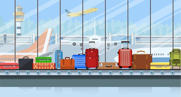 Airport conveyor belt with passenger luggage bags illustration.