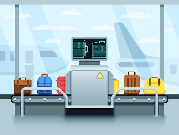 Airport conveyor belt with passenger luggage and police scanner. terminal checkpoint vector concept