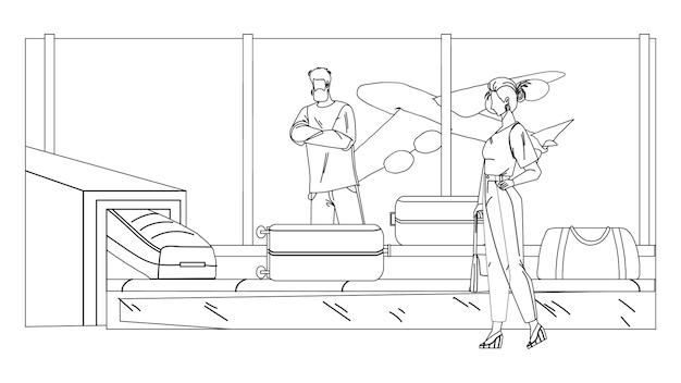 수하물 검은 선 연필 드로잉 벡터와 공항 컨베이어 장비. 남자와 여자 비행기 승객 대기 및 터미널 컨베이어에서 수하물을 검색합니다. 캐릭터 비즈니스 여행 일러스트레이션