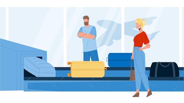 수하물 벡터와 공항 컨베이어 장비입니다. 남자와 여자 비행기 승객 대기 및 터미널 컨베이어에서 수하물을 검색합니다. 캐릭터 비즈니스 여행 플랫 만화 일러스트 레이 션
