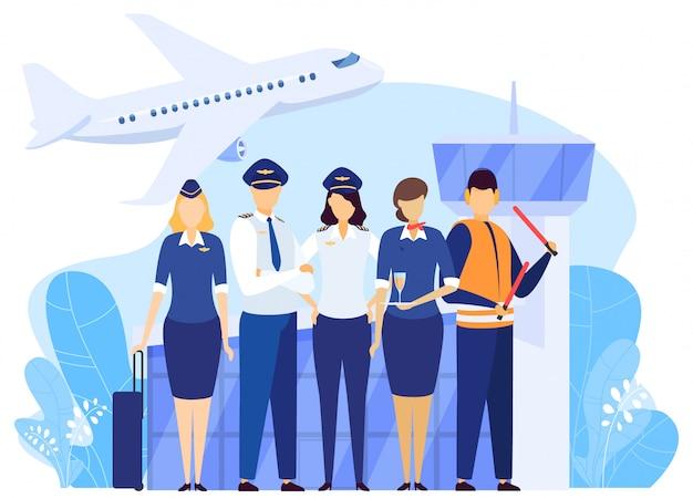 Экипаж аэропорта стояли вместе, профессиональная команда авиакомпании в форме, люди иллюстрации