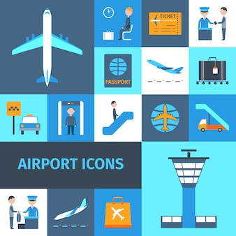 Airport decorative icons set