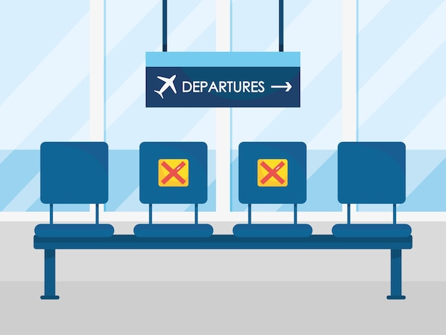 Airport departure seat with new normal way of traveling