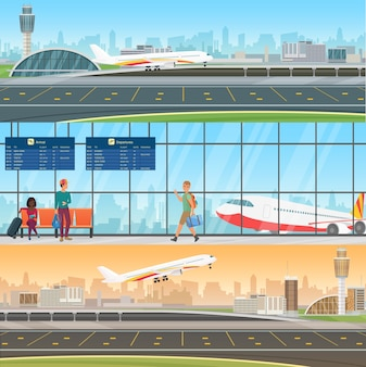 Airport detailed horizontal banners templates. arrivals and departures. waiting room in terminal with passengers people. travel concept with taking off and landing airplane