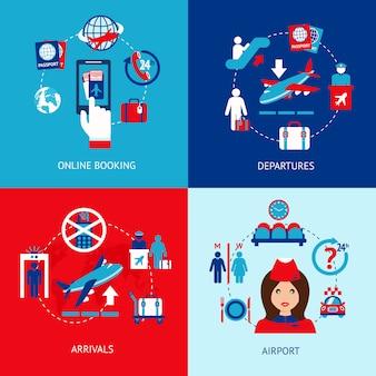 Airport elements flat set