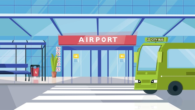 フラット漫画デザインの空港入口とバス停のコンセプト。ドア、ベンチ、バス、横断歩道のある建物のファサード。旅客輸送、転送。ベクトルイラスト水平背景