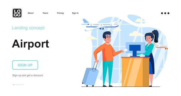 Airport flat design concept