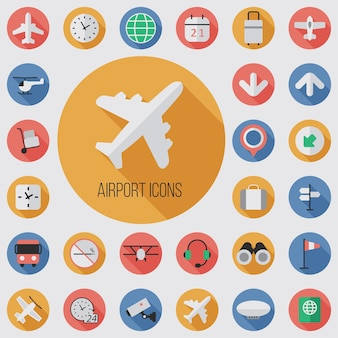 Airport flat, digital icon set with long shadow effect for web and mobile