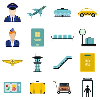 Airport flat elements set isolated