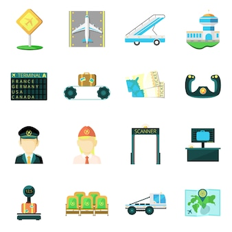 Airport flat icons set