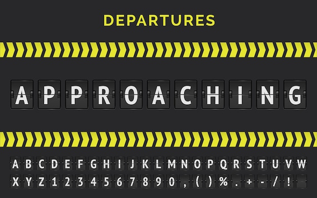 Airport flight scoreboard with realistic flip font for flights status approaching with arrow stripe