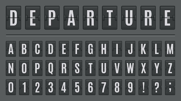 Airport flip board alphabet. scoreboard lettering font, abc on airport signs or countdown panels. score board letters and numbers  illustration set for arrival and departure, railway station