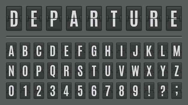 Аэропорт флип-доард алфавит. шрифт надписи табло, abc на знаках аэропорта или панелях обратного отсчета. набор букв и цифр на табло для прибытия и отправления, железнодорожный вокзал