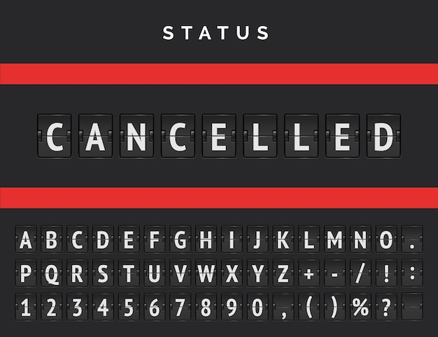 Airport flip scoreboard announcing warning due to cancelled departures