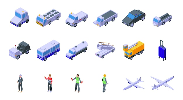 Airport ground support service icons set. isometric set of airport ground support service icons for web design isolated on white background