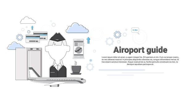 Airport guide airplane transportation air tourism web banner vector illustration