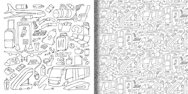 空港手描き落書きセットとシームレスなパターン落書き旅行壁紙のベクトルイラスト
