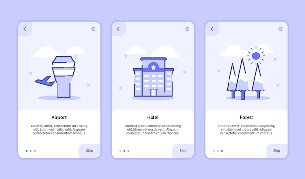 Airport hotel forest onboarding screen for mobile apps template banner page ui