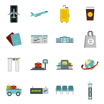 Airport icons set in flat style