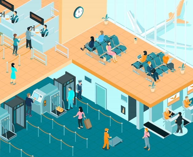 Airport indoor isometric illustration