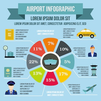 Airport infographic elements in flat style for any design
