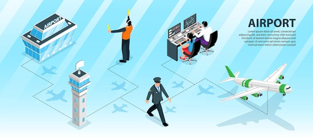 Airport infographic layout with terminal building pilot dispatchers airplane
