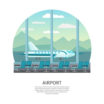 Airport interior orthogonal illustration