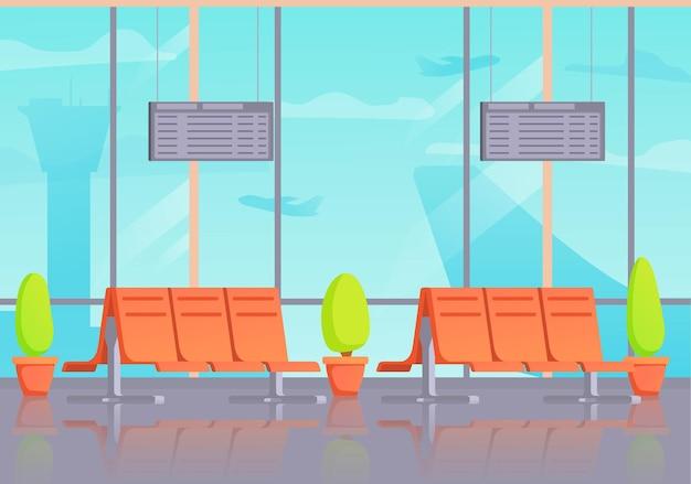 공항 내부 대기실 또는 출발. 터미널 홀 비행장. 여객기.