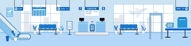 Airport interior with checkin counter and gate cartoon vector illustration
