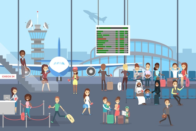 Интерьер аэропорта с пассажирами. туристы с багажом ждут в зале или бегут на регистрацию. иллюстрация