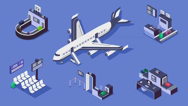 Airport isometric color illustrations set. luggage belt, commercial airplane and security checkpoint 3d concept isolated on blue background. baggage scanner, terminal and check in counter