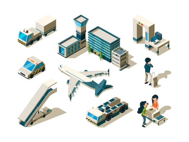 Airport isometric. control travellers checking passengers luggage conveyor entrance arrival service terminal 3d low poly s