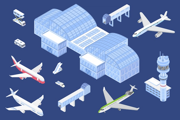 Airport isometric icons set, illustration with isolated airplanes and special equipment for airport terminal for design or game.
