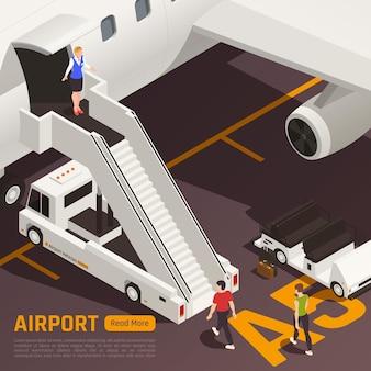 Изометрическая иллюстрация аэропорта с самолетом, грузовиком и людьми