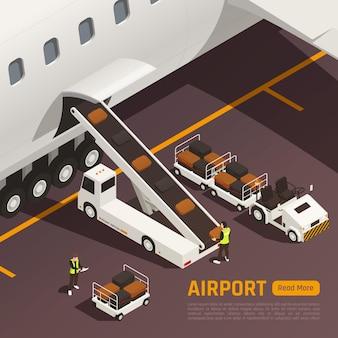 Изометрическая иллюстрация аэропорта с конвейерными грузовиками, загружающими сумки в самолет